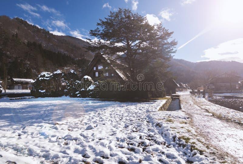 Shirakawago śniegu wioska zdjęcie stock