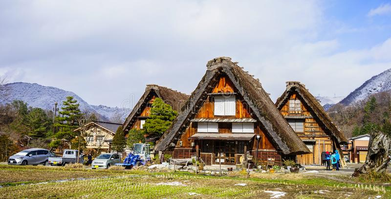 Shirakawago historisk by i Gifu, Japan royaltyfria foton