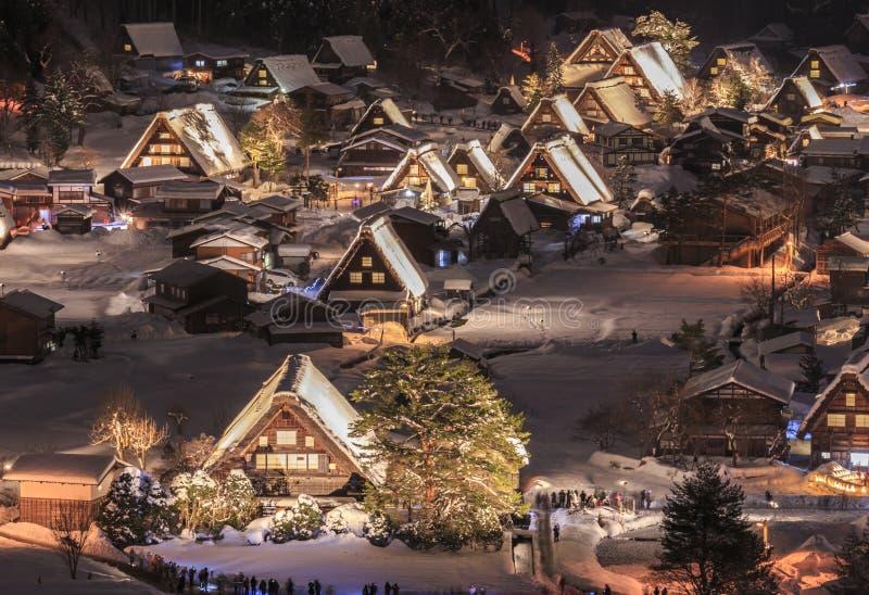 Shirakawago ilumina-se acima foto de stock royalty free