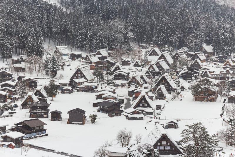 Shirakawago village with snow fall in winter season . Landmark of Gifu , Takayama , Japan . View point landscape royalty free stock photos
