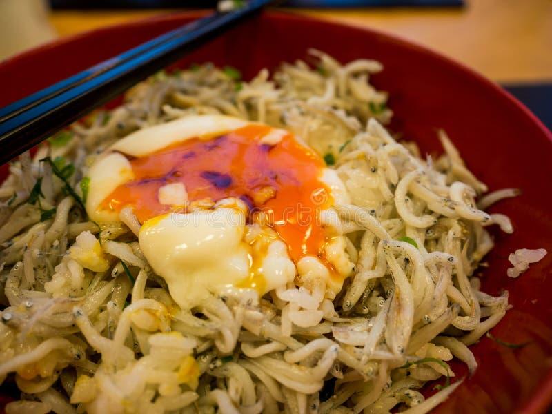Shirasu donrice topped with Japanese small fish, Kamakura's famous food, Japanese food royalty free stock image