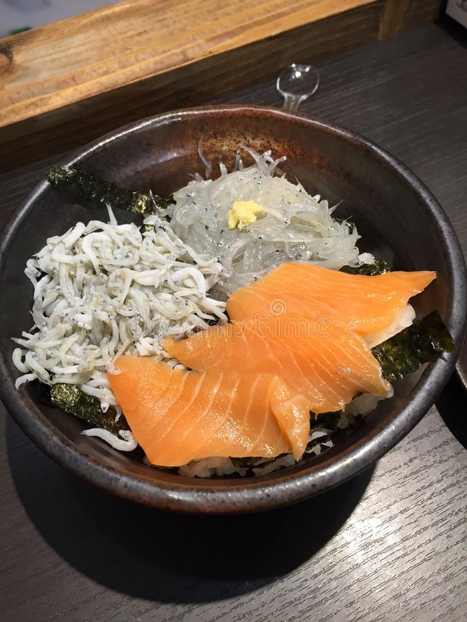 Shirasu Salmon Don royalty-vrije stock foto's
