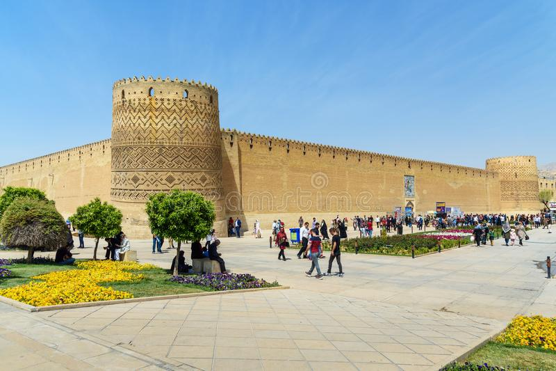Karim Khan Castle in Shiraz. Iran. Shiraz, Iran - March 25, 2018: View of Karim Khan Castle in center of city royalty free stock photos