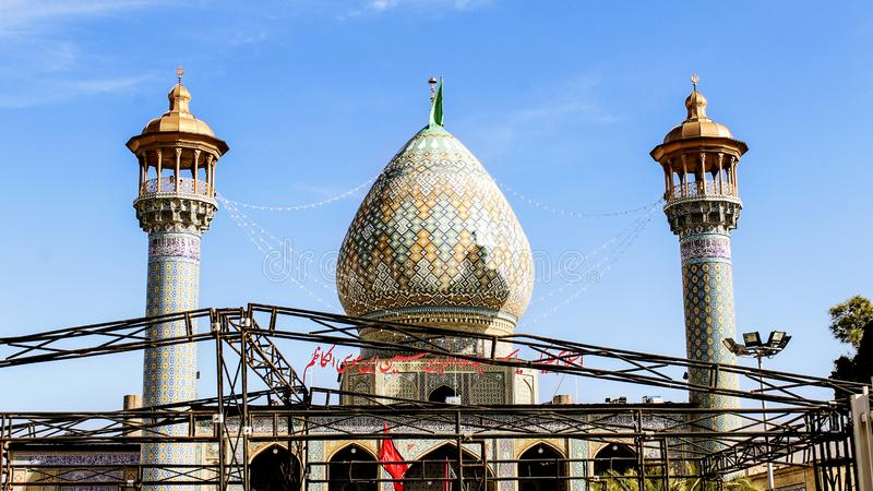 Shiraz,Iran - May 10 2019: Dome of the Seyyed Aladdin Hussain bin Musa al-Kazim Shrine , brother of Imam Reza. Shiraz, Iran stock photo