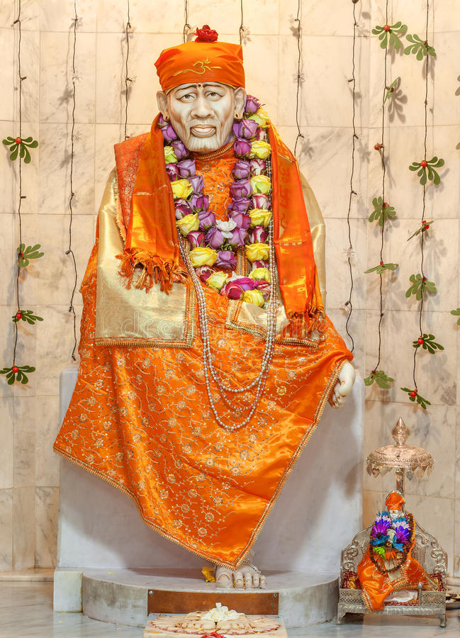 Shirdi Sai Baba. In Hindu temple. Sai Baba of Shirdi was an Indian spiritual master who was and is regarded by his devotees as a saint, fakir, and satguru royalty free stock photos