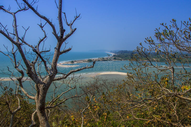 Shiroda beach in the state of Maharashtra, India. View from Redi fort stock photo