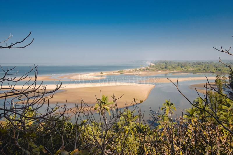 Shiroda beach in the state of Maharashtra, India. View from Redi fort royalty free stock image