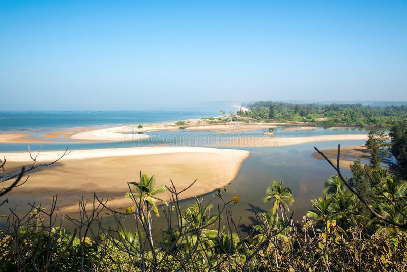 Shiroda beach in the state of Maharashtra, India. View from Redi fort royalty free stock photo