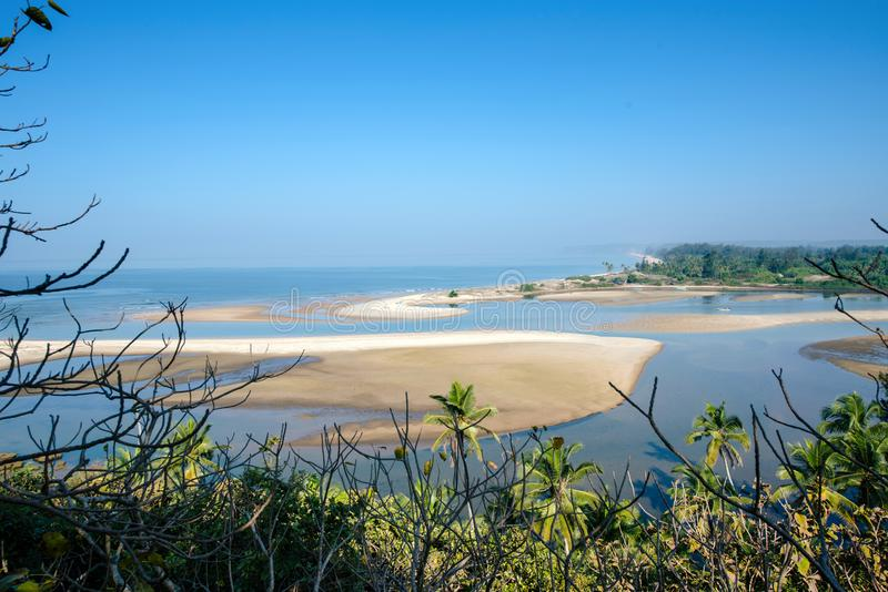 Shiroda beach in the state of Maharashtra, India. View from Redi fort royalty free stock images