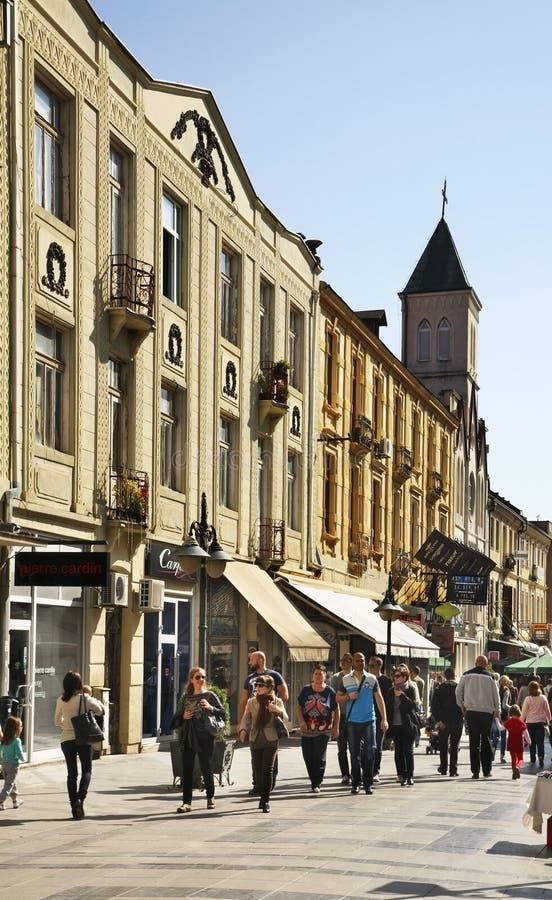 Shirok Sokak街道在比托拉 马其顿 库存照片
