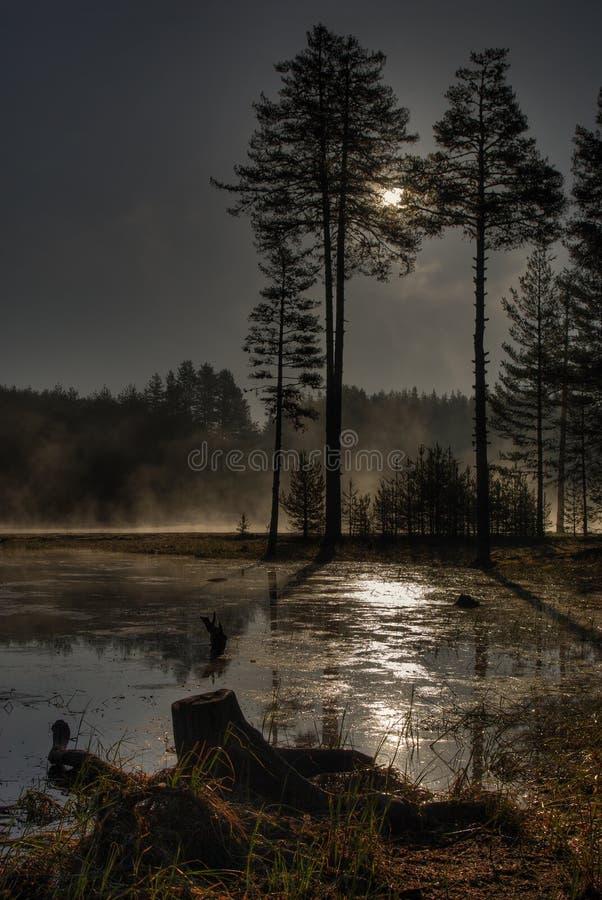 Shiroka-poliana Verdammung mit mystischem Nebel lizenzfreie stockfotografie