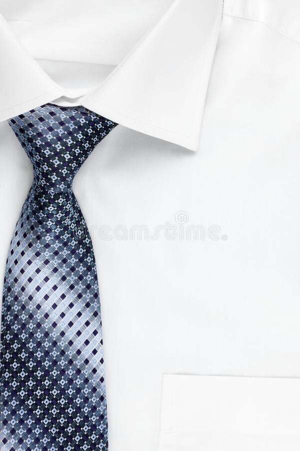 Shirt and blue tie as a background royalty free stock photography