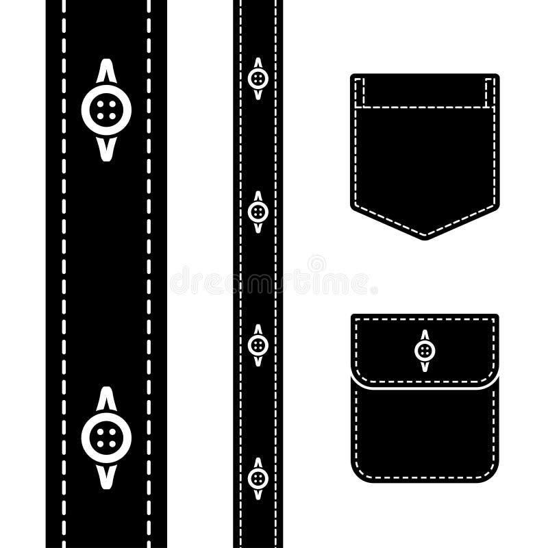 Shirt button pocket black silhouette stock illustration