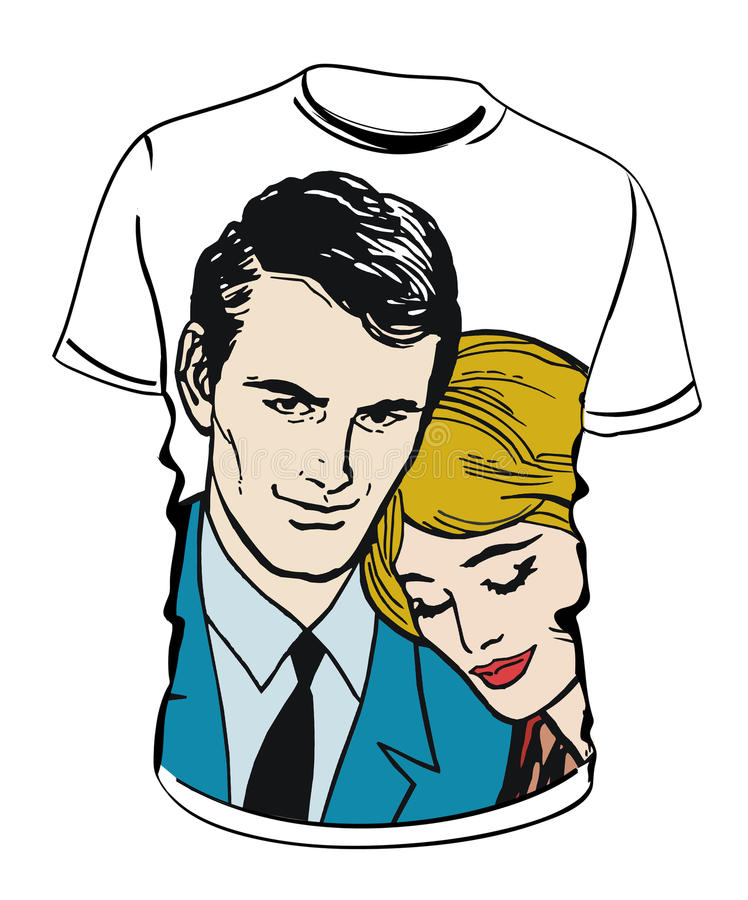 Shirt with couple illustration royalty free stock photos