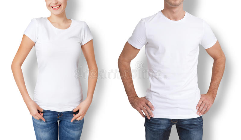 Shirt design and people concept - close up of young man and woman in blank white t-shirt . royalty free stock images