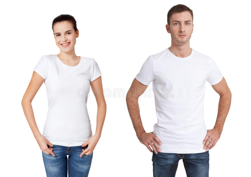 Shirt design and people concept - close up of young man and woman in blank white t-shirt isolated. Shirt design and people concept - close up of young men and stock photos