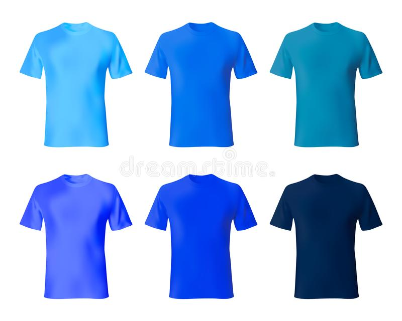 Shirt design template. Set men t shirt navy blue, indigo color. Realistic mockup shirts model male fashion vector illustration