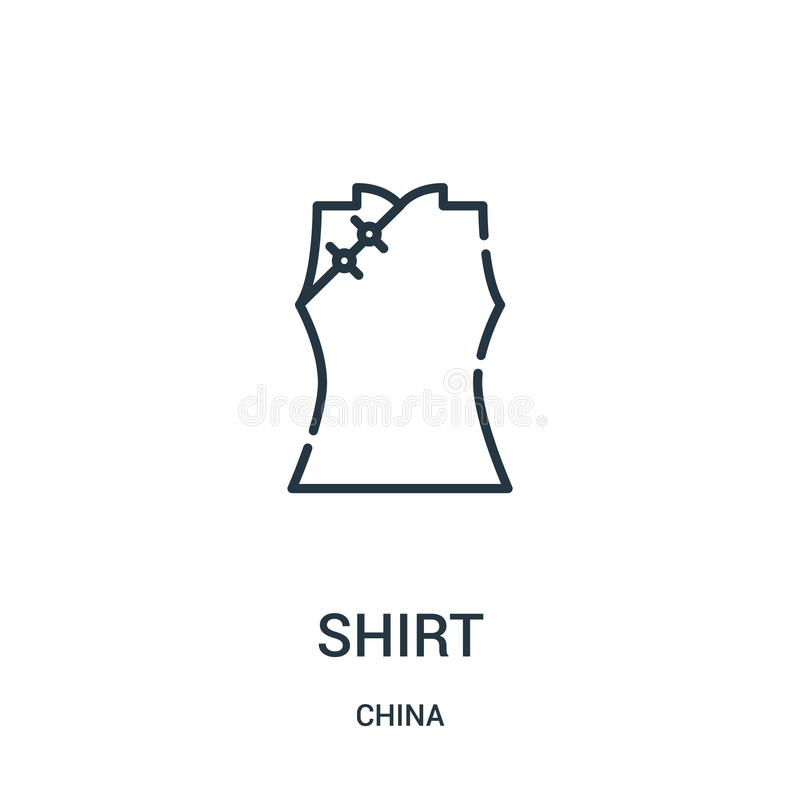 shirt icon vector from china collection. Thin line shirt outline icon vector illustration. Linear symbol for use on web and mobile royalty free illustration