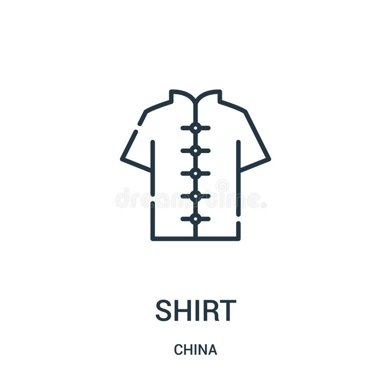 Shirt icon vector from china collection. Thin line shirt outline icon vector illustration. Linear symbol for use on web and mobile. Apps, logo, print media vector illustration