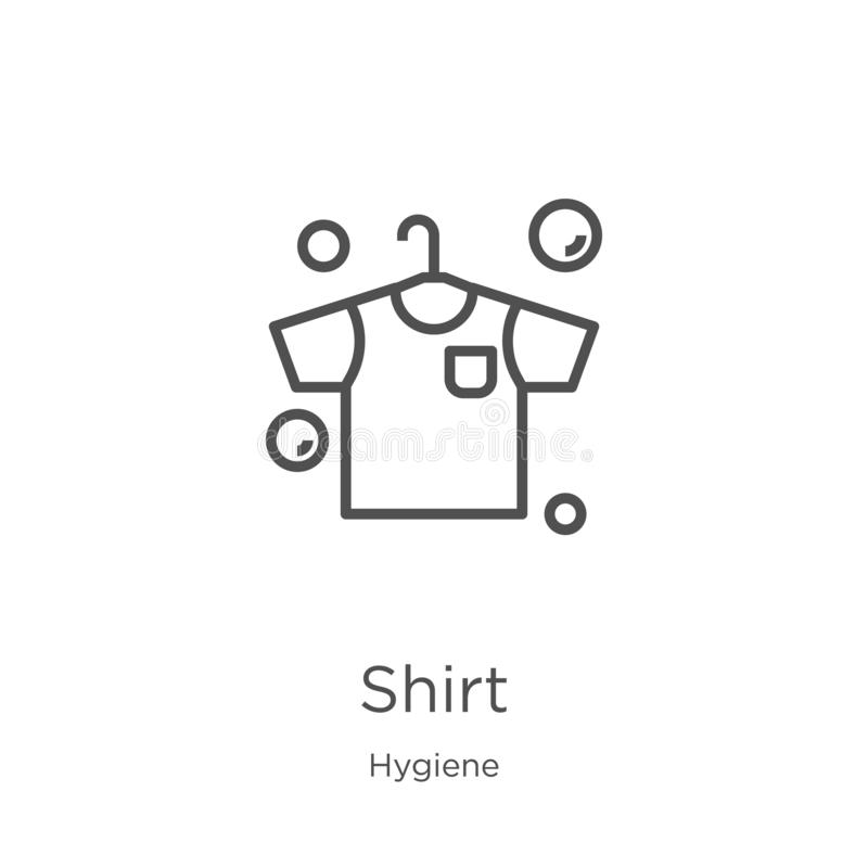 Shirt icon vector from hygiene collection. Thin line shirt outline icon vector illustration. Outline, thin line shirt icon for. Shirt icon. Element of hygiene stock illustration