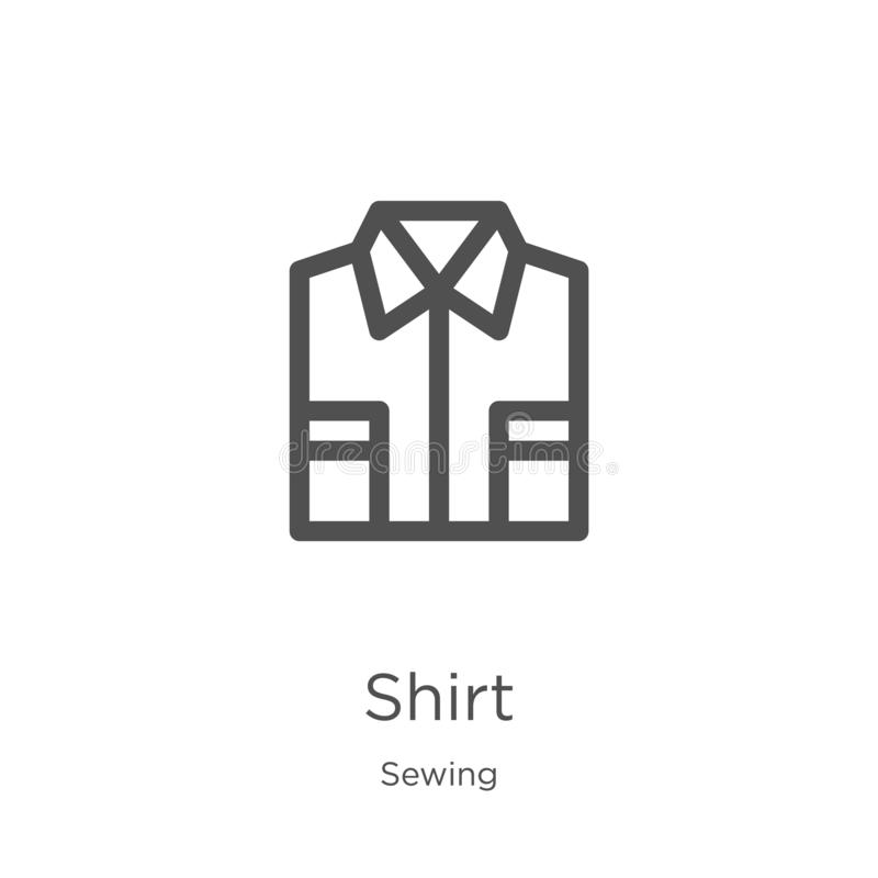 shirt icon vector from sewing collection. Thin line shirt outline icon vector illustration. Outline, thin line shirt icon for royalty free illustration