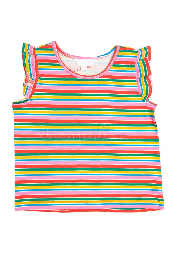 Shirt isolated. Fashionable little girl striped shirt or t-shirt isolated on white background. Concept summer fashion for childs royalty free stock photography