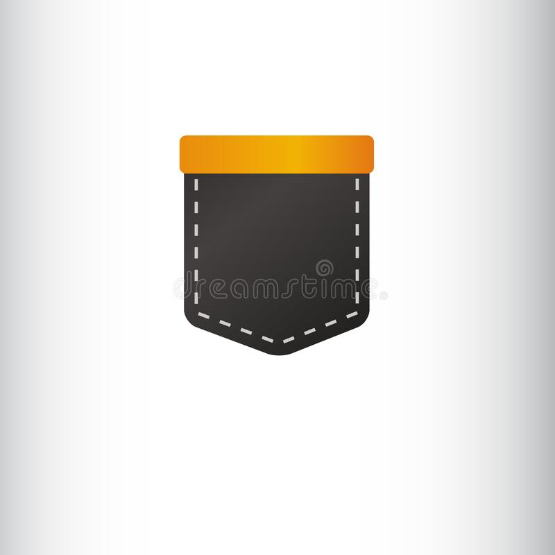 Shirt pocket. Black and orange color. Illustration or Logo design template royalty free illustration