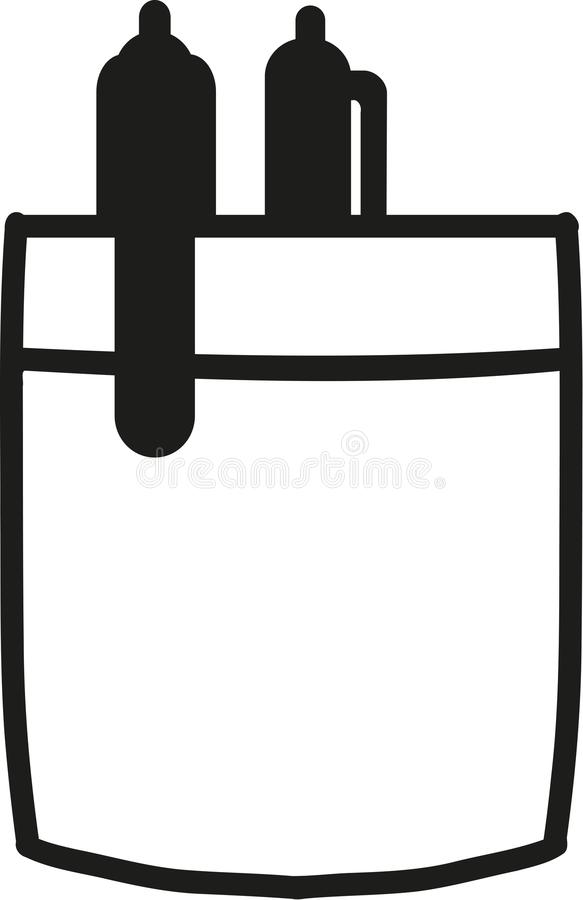 Shirt pocket with two pens. Vector vector illustration