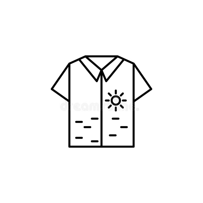 Shirt, sea icon. Simple thin line, outline vector of summer icons for UI and UX, website or mobile application. On white background stock illustration