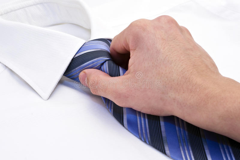 Shirt and tie. White male shirt, blue tie stock images