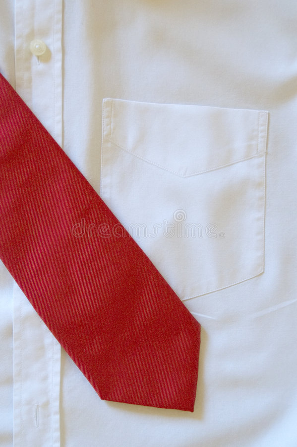 Shirt and tie. Men's white shirt and red tie stock images
