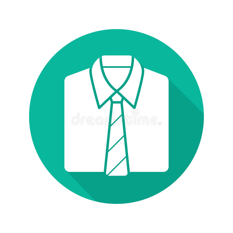 Shirt and tie flat design long shadow icon stock illustration