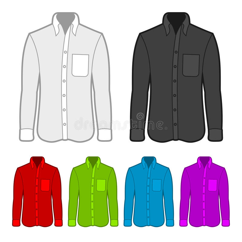 Shirt in various colors. vector illustration