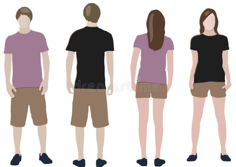 Shirtauslegungschablonen (Frontseite u. Rückseite) stock abbildung