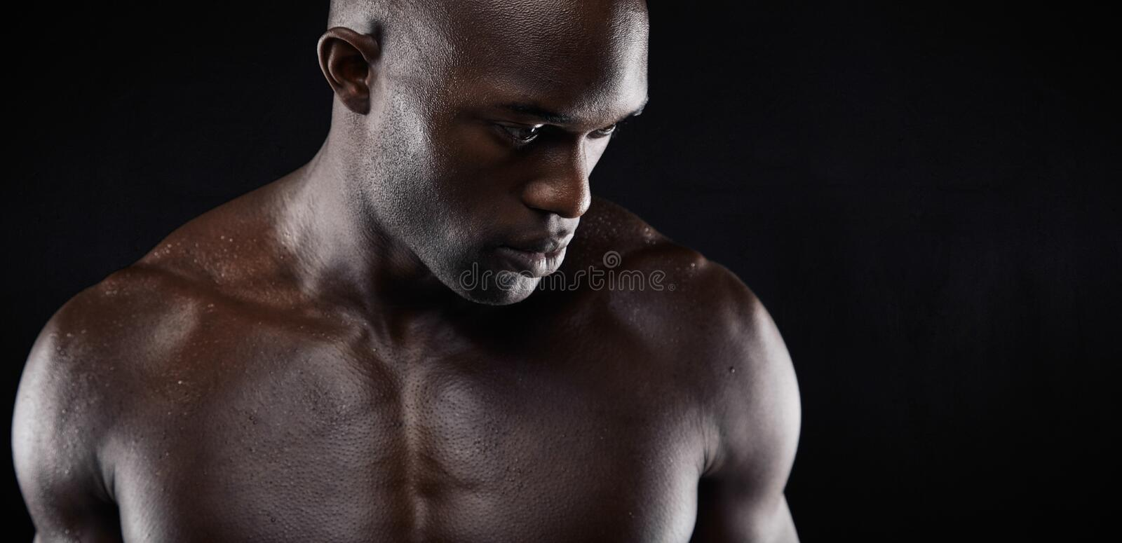 Shirtless african male model stock images