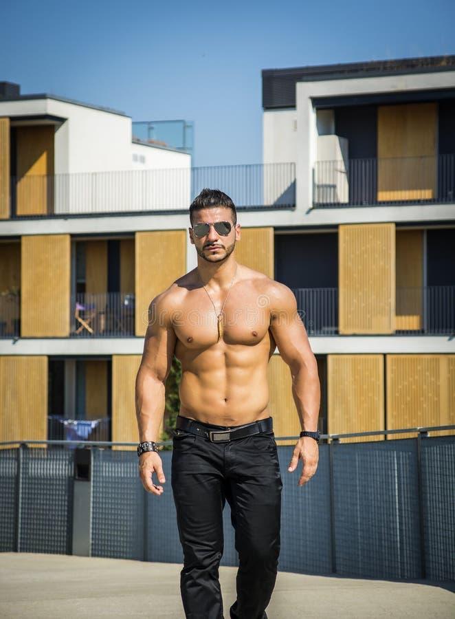 Shirtless bodybuilder die torsospieren, abs tonen stock afbeeldingen