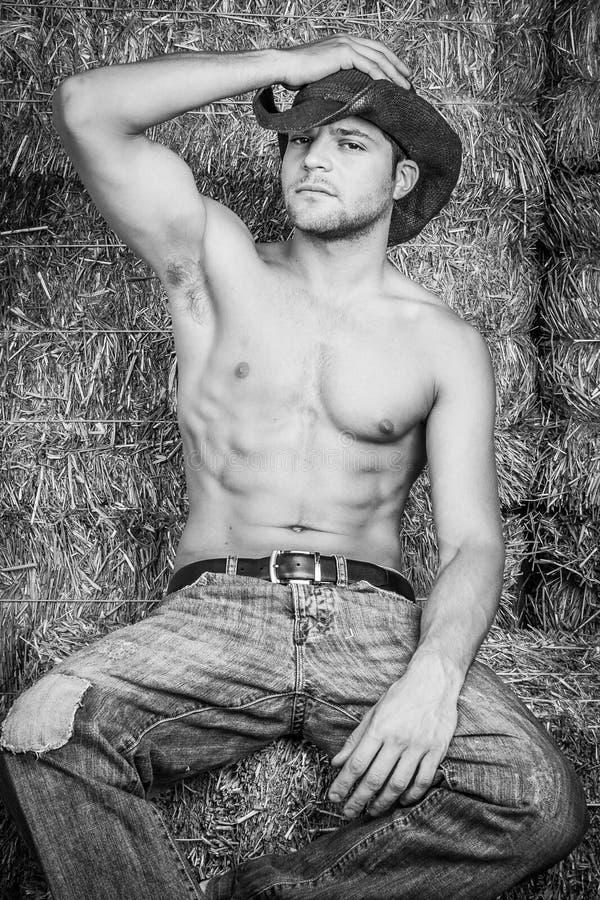 Shirtless Cowboy Man royalty-vrije stock fotografie