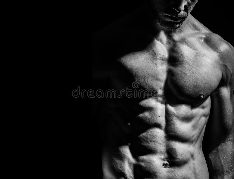 Shirtless and fit male stock photo