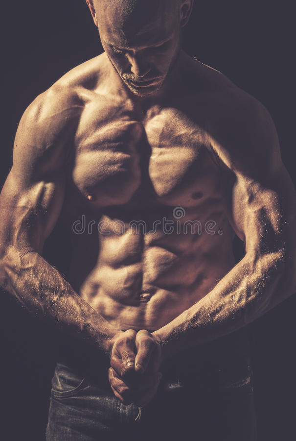 Shirtless and fit male royalty free stock image