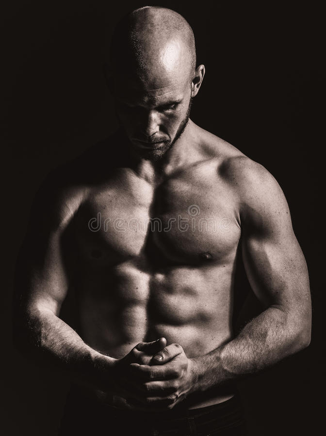 Shirtless and fit male royalty free stock photo