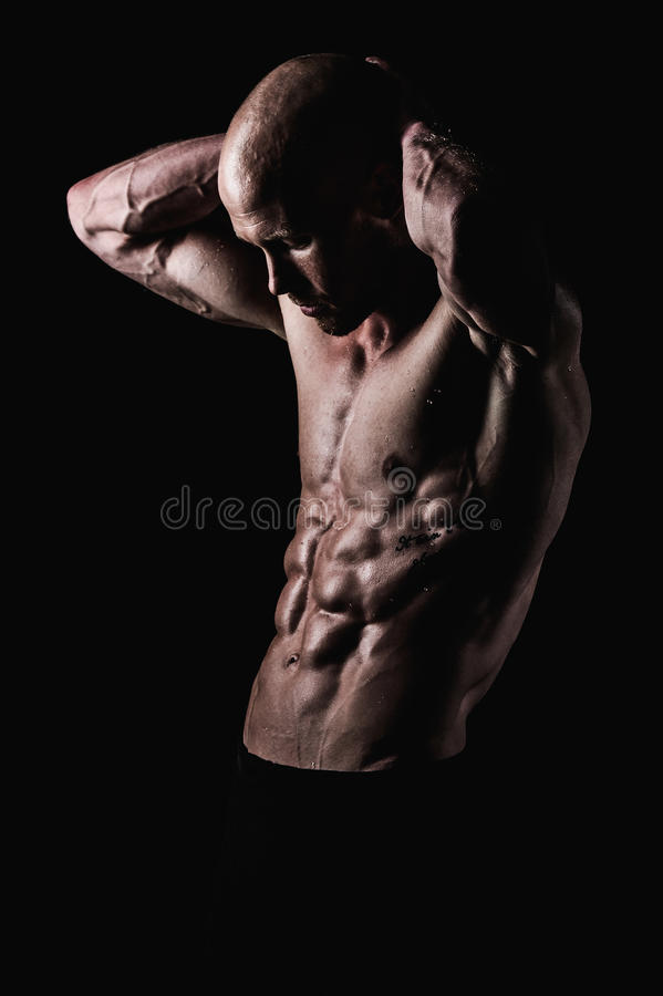 Shirtless and fit male stock photography