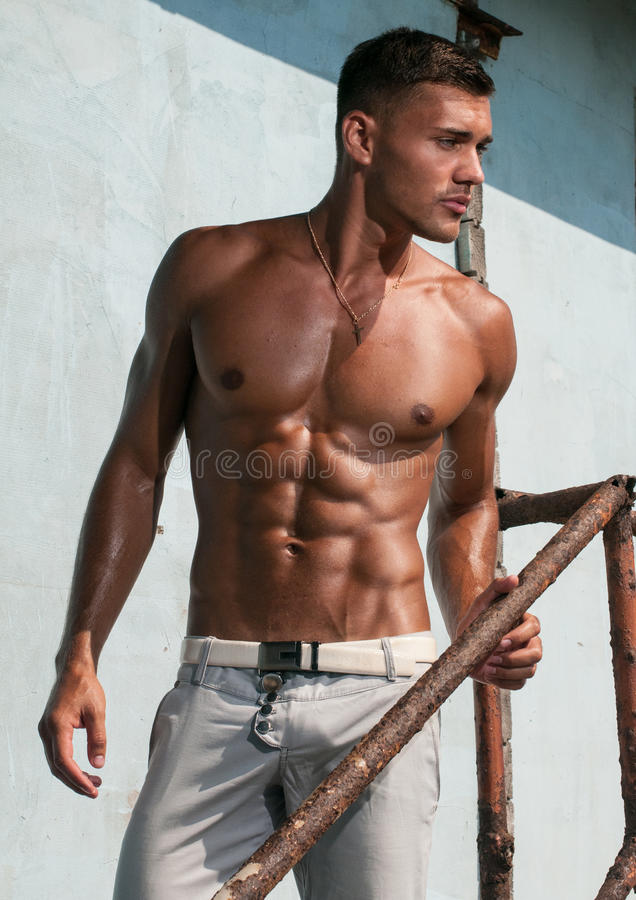 Shirtless male model royalty free stock image