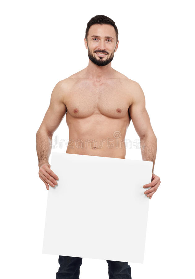 Shirtless man with blank sign royalty free stock photos