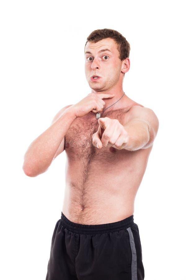Shirtless Man Intimidating Stock Photo