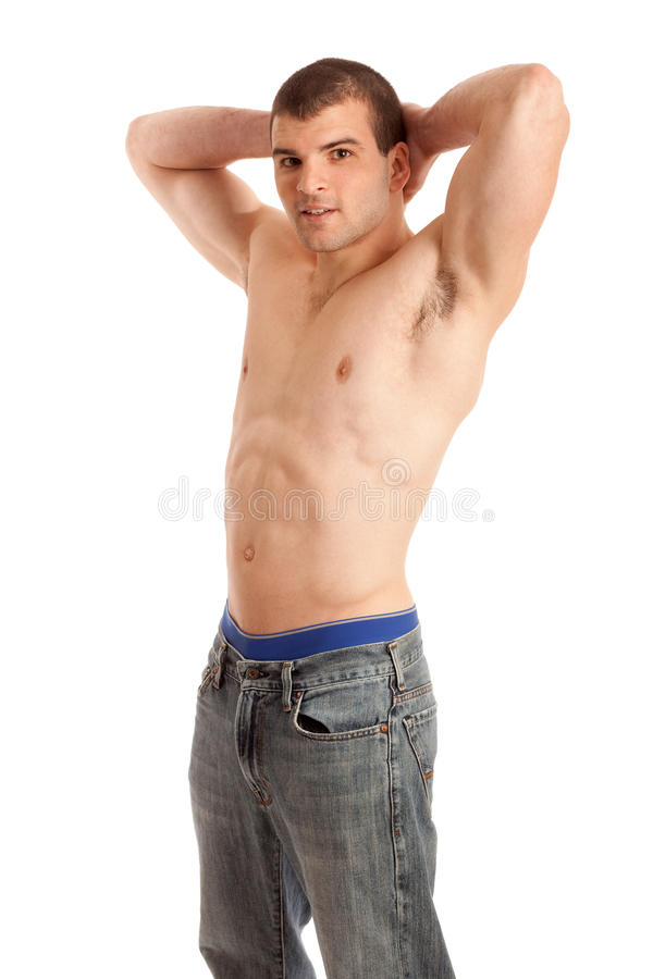 Shirtless Man In Jeans Stock Images