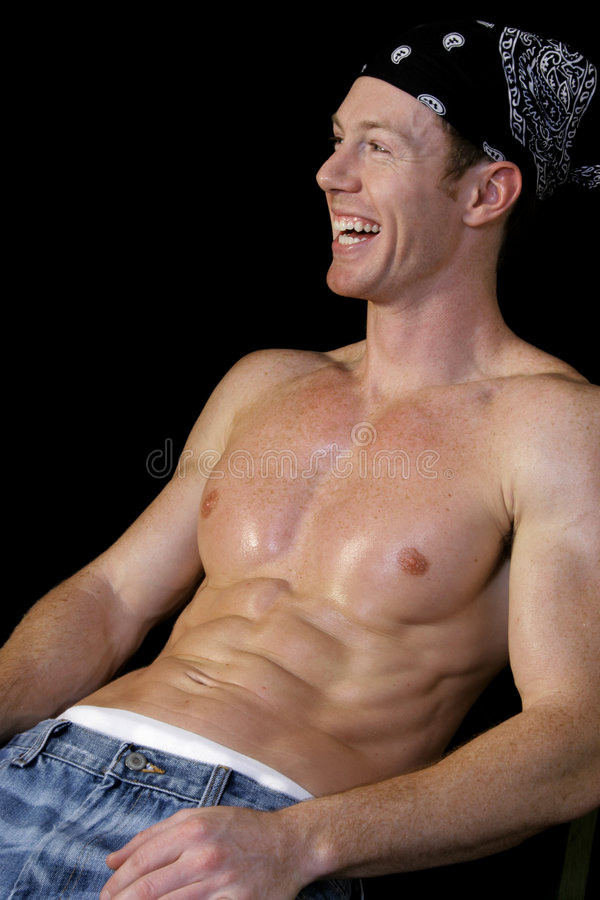 Shirtless Man Laughing stock photo