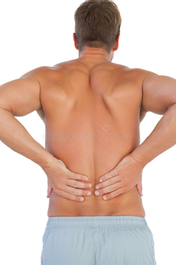 Download Shirtless Man Suffering From Lower Back Pain Stock Photo - Image of male, muscle: 31555452