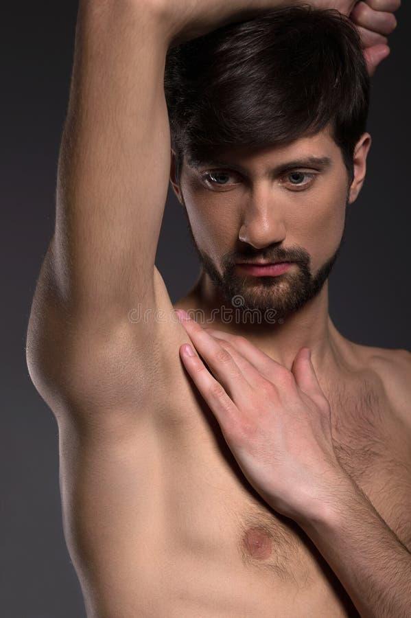 Download Shirtless man. stock image. Image of face, black, conscious - 32831231