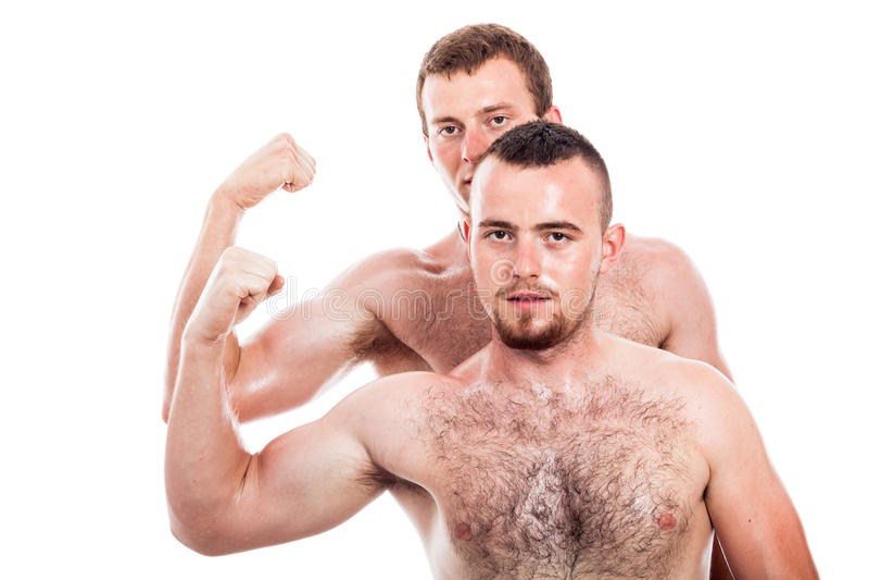 Shirtless men show biceps stock photos