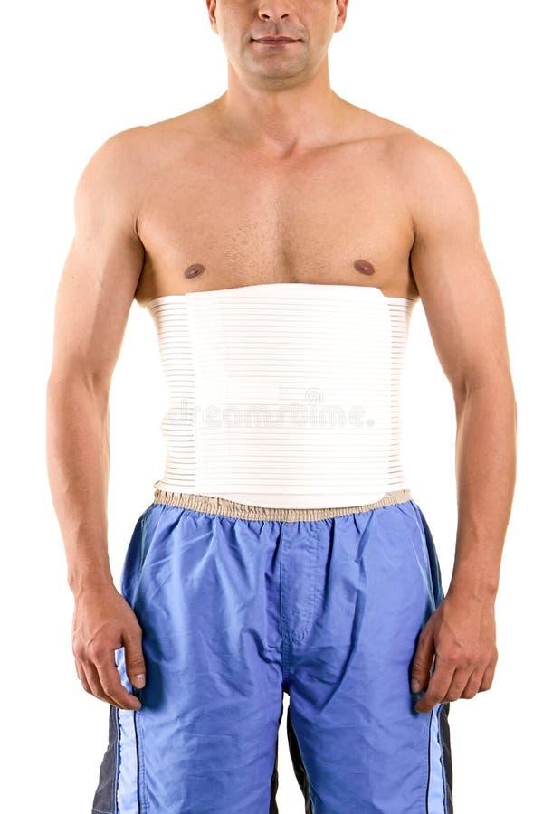 Shirtless Mens die Steun dragen om Kern te steunen stock foto